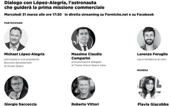 31 marzo 2021 ore 17:30: Il futuro commerciale della Stazione spaziale. Dialogo con López-Alegría