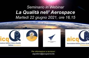 """22 giugno 2021 ore 16,15: Webinar """"La Qualità nell'Aerospace"""""""